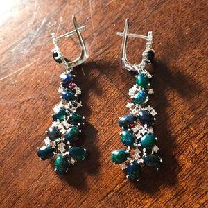 Nwot sterling silver 925 black fire opal earrings